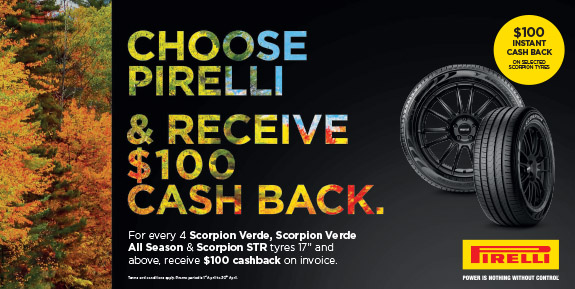 Choose Pirelli and receive $100 cash back