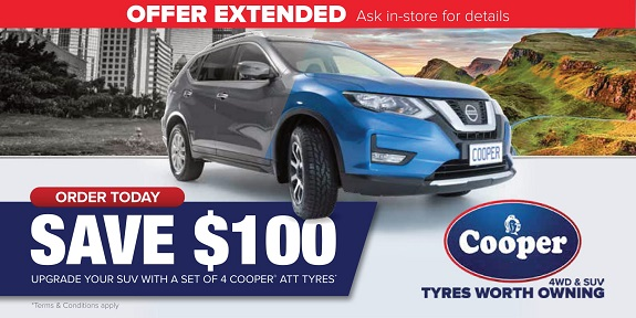 Save $100 - Upgrade your suv with a set of 4 Cooper ATT Tyres